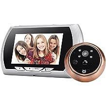 BW Smart Digital mirilla de puerta timbre–720P, 1/4Pulgadas CMOS, visualización de 140grados, pantalla de 4,3pulgadas, visión nocturna, detección de movimiento), color plateado