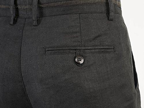 Uomo Pantaloni Eleganti Slim Fit con Tasche Laterali per Uso Lavoro, di Alta Qualità Nero