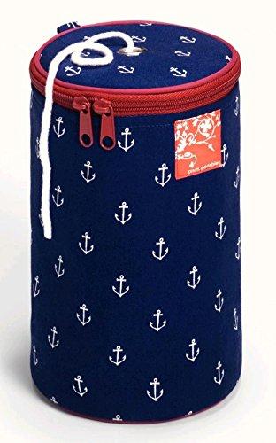 Prym Garn-/Wollspender/Knäuelhalter Maritim mit Ankerdruck und burgunderroter Borte, Baumwolle, dunkelblau/weiß/rot. (Baumwolle-wolle-halter)