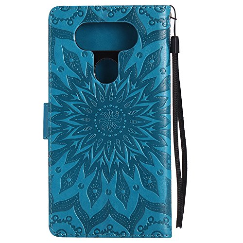 Für LG V20 Fall, Prägen Sonnenblume Magnetic Pattern Premium Soft PU Leder Brieftasche Stand Case Cover mit Lanyard & Halter & Card Slots ( Color : Purple ) Blue