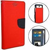 Samsung Wave 3 S8600 Etui Housse folio façon rouge cuir texturé avec porte cartes et surpiqûres apparentes by PH26®