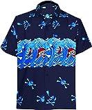LA LEELA Herren Hemd Strandhemd Hawaiihemd Kurzarm Urlaub Hemd Freizeit Reise Hemd Party Hemd Hawaii Front-Tasche skeletthemd Blau_W153 S