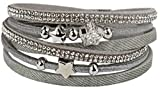 Mevina Damen Strass Armband Wickelarmband Glitzer Stern Magnetverschluss Shamballa Sternarmband Grau A1223