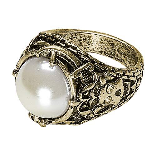 g mit unechter Perle | Gold-Weiß | Glänzendes Unisex-Accessoire Zauberring | Ideal für Mottoparty & Fasching ()