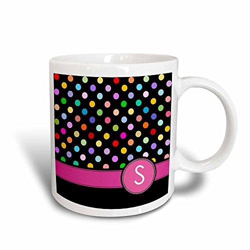 3dRose Buchstabe S Monogramm auf Rainbow Polka Dots Muster mit Hot Pink Persönlichen Initiale Colorful Girly Magic verwandelt 11oz Becher, Keramik, Schwarz/Weiß, 10,16x 7,62x 9,52cm