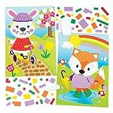 """Mosaik-Bastelsets """"Tiere im Frühling"""" für Kinder als Bastel- und Deko-Idee für Jungen und Mädchen (4 Stück)"""