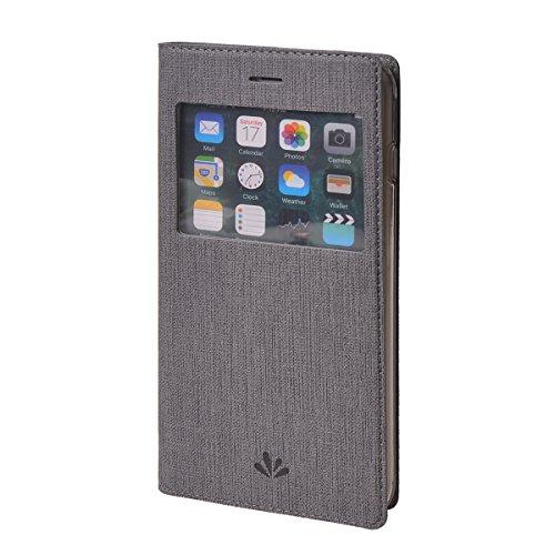 MEIRISHUN Apple iPhone 7 Case,Portafoglio PU Pelle Magnetico Stand Morbido Silicone Flip Bumper Protettivo Gomma Shell Borsa Custodie con Slot per Apple iPhone 7 - Grigio Grigio