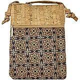 Kaibe Borsa a tracolla in sughero per donna, borsa rettangolare piccola con doppia cerniera e stampa