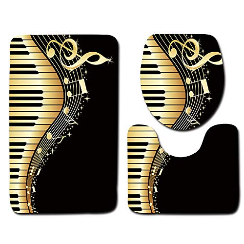 Cooimocs 3D Bad Wc Dreiteilige Mat Tür Matte Badezimmer Teppich Gemalt Piano Key 45x75cm 35x45cm 37.5x45cm (Piano-tür-matte)