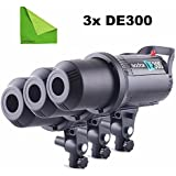 Godox 3pcs DE-300 DE300 110V 300W Compact Flash Strobe Studio Lighting Head Bowens Mount