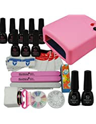Coscelia 36W Lampe Rose Séchoir Nail Art Manucure Vernis à Ongles Primer Top Coat Sticker Decor Kit