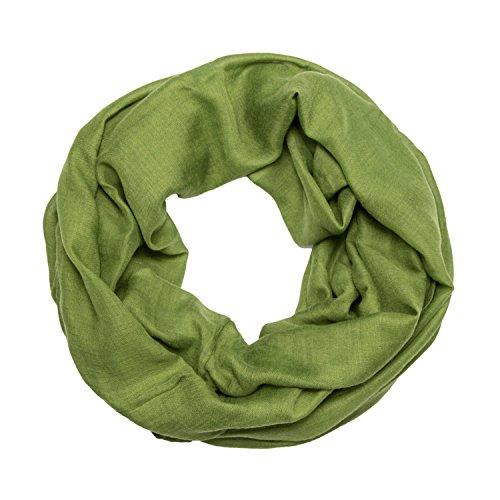 MANUMAR Loop-Schal für Damen einfarbig | feines Hals-Tuch in Gras-grün als perfektes Herbst Winter Accessoire | Schlauch-Schal | Damen-Schal | Rund-Schal | Geschenkidee für Frauen und Mädchen