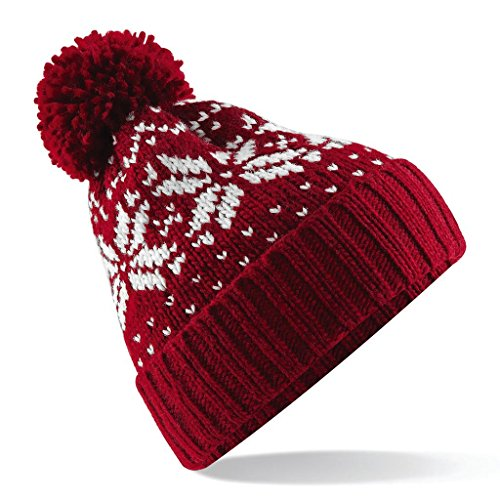 Beechfield bonnet snowstar fair isle - classic red/white