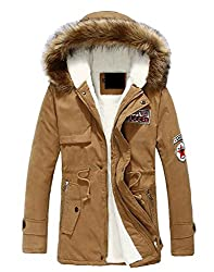 Ttyllmao Men Faux Fur Hodded Fleece Jacket Coat S Khaki