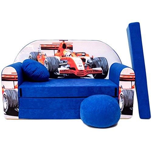 Welox c2kindersofabe ttfunktion3in1della sedia per bambini, letto estraibile, blauformel1, uova sciarpa colore