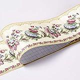 Bordo adesivo per carta da parati impermeabile con motivo floreale 3D, rimovibile, autoadesivo, per cucina e bagno, motivo: Banggo, 10,6 x 500 cm, giallo