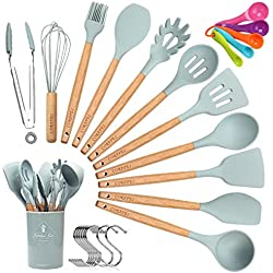 Corafei 12pièces kit Ustensiles de Cuisine en Silicone et Bois, Cuillère, Spatule, Louche, Fouet, Pince à Spaghetti, Pot de Rangement,10 crochets et 5 cuillères à mesurer