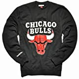 Mitchell & Ness Teamlogo Crew Pullover Men - CHICAGO BULLS - Black, Größe:S