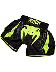 Venum Sharp 3.0 Pantalones Cortos de Muay Thai, Hombre, Negro / Amarillo Flúor, M