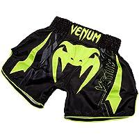 Venum Sharp 3.0 Pantalones Cortos de Muay Thai, Hombre, Negro/Amarillo flúor, L
