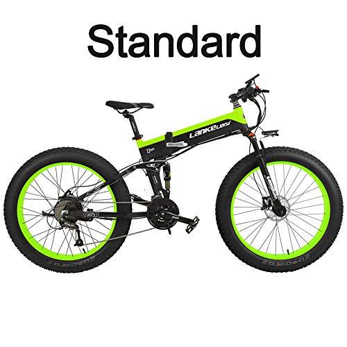 LANKELEISI T750Plus 27 Speed 26 * 4.0 Fat, Bicicleta eléctrica Plegable 500W 48V 10Ah, batería de Litio Oculta, suspensión Completa de la Bicicleta de Nieve (Negro Verde, 500W Standard)