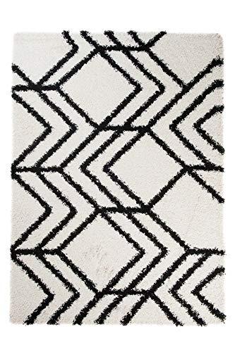 Tapiso® Art Shaggy Hochflor Teppich - Geometrische zick Zack Muster in Creme Schwarz- weicher Langflor Teppich ins Wohnzimmer, Schlafzimmer und Jugendzimmer - Rechteckig 60 x 100 cm