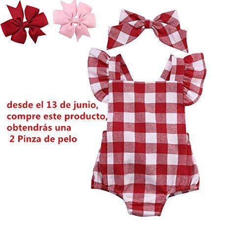 Ropa Bebe Niña Verano Fossen Recién Nacido Bebé Mono de cuadros con Horquilla (6-12 meses, Rojo)