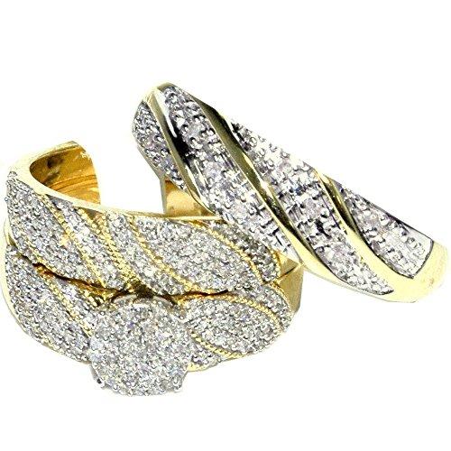 Midwest gioielli donna Trio Set di anelli per lui e 1/2cttw diamanti in oro giallo 10K Set di anelli di larghezza (i/JCOLOR, 0,5cttw)