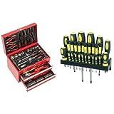 Mannesmann - M29066 - Caja de herramientas equipada con 155 piezas + M11410 - 18 piezas Juego de destornilladores con soporte de pared