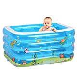 LIJUN Aufblasbarer Pool PVC Rechteckiges Baby Pool Planschbecken Spiel Pool,Blue-143 * 105 * 75cm