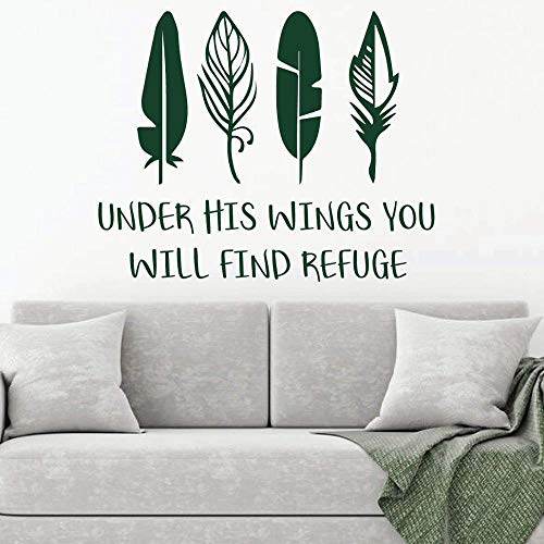 woyaofal Christian Church Wall Decal Under His Wings Scripture and Religious Vinyl Wall Stickers Removable Art Home Decoration Mural 52x42cm
