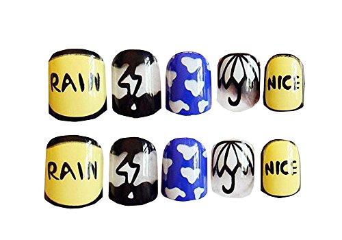 24 PCS rose de jeune mariée Bling faux ongles Art Nails Sticker