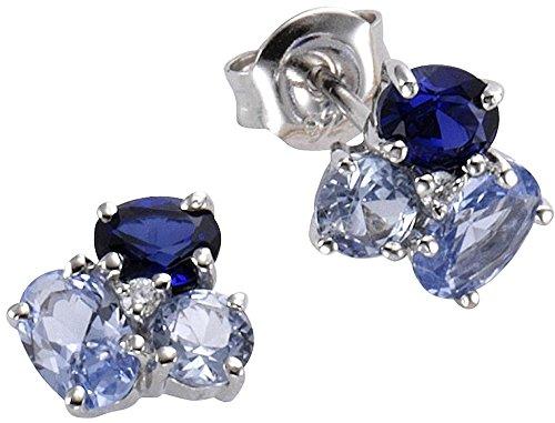 Celesta 925 argento Ovale blu bianco Zirconia cubica Spinello Zaffiro artificiale