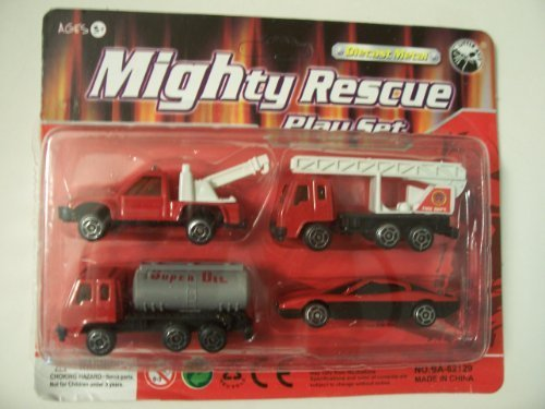 die-cast-metal-4-piece-mighty-rescue-play-set-fire-department-tow-truck-ladder-truck-oil-truck-speed