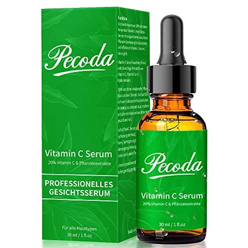 Vitamin C Serum für Gesicht mit BIO Hochdosiert 20{ecd5c26c4ccde58227ada0477c04346baad8f542f95321574b24e1c7736c0f31} Vitamin C + Hyaluronsäure + Vitamin E. Organisch AntiAging + Anti Falten Gesichtsserum, Natürliche Hyaluron Feuchtigkeitsserum für Haut.