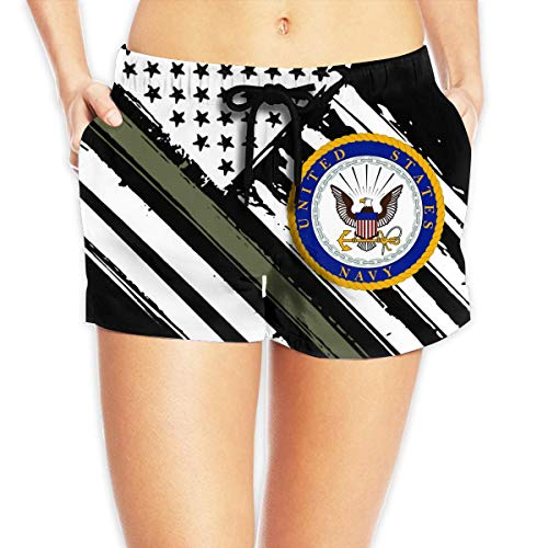 vbndfghjd US Navy Department Seal Women's Swim Trunks Quick Dry Beach Board Shorts Funny Novelty L