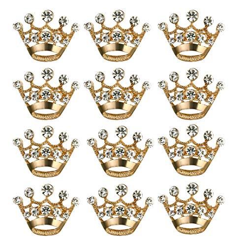 A 12 Stück Krone Brosche Pin Fashion Diamond Party Bridal zeigt Tiara Korsett für Hochzeit Lieferungen zum Valentinstag,Gold,12pcs (Pins Bridal Party)