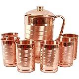 JOCOPRIME Copper Jug 2000ml Pitcher with 6 Glass Tumbler, Serveware & Drinkware, Ayurveda, set of 7