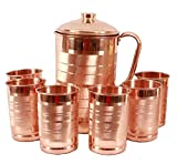 #5: JOCOPRIME Copper Jug 2000ml Pitcher with 6 Glass Tumbler, Serveware & Drinkware, Ayurveda, set of 7