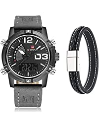 f7b7105a4e1 NAVIFORCE Men s Military Sport Style Analog Digital Leather Strap Wrist  Watch