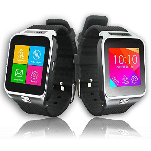 Indigi® 2en 1interconvertible GSM + Bluetooth Smart reloj teléfono celular w/Cámara para Teléfono Android y iPhone * (plata)
