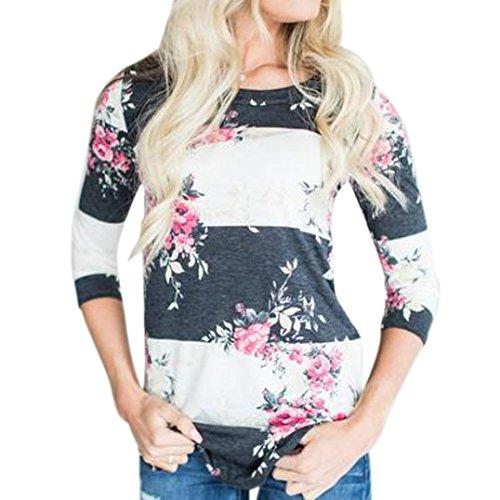 OVERDOSE Mokingtop Damen Floral Splice Printing Rundhals Pullover Bluse Tops T-Shirt (S, D-Weiß) (Island Kleidung)