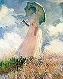 Kunstdruck auf Leinwand. Frau mit Sonnenschirm. Bild von Claude Monet