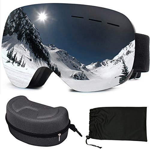 sancuanyi Skibrille Damen und Herren Snowboardbrille Doppel-Objektiv Antibeschlag und UV-Schutz für Snowboard Skifahren Motorrad Fahrrad Skaten(Schwarz)