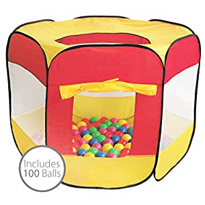 Charles Bentley Children's Kids Multi-Coloured Pop Up Ball Pit Play Tent Including 100 Balls - Indoor Outdoor Use