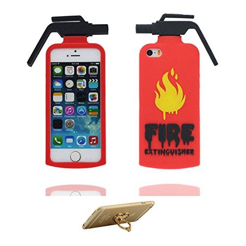 iPhone 5 Hülle, Cover iPhone 5S 5C 5G Handyhülle, TPU Skin Gummi weich Shell iPhone SE case, Staub Kratzer beständig (3D Cartoon Hase Stripe) und Ring Ständer für Handy rot