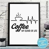 COFFEE - ELIXIER OF LIFE - Bild mit Kaffee-Spruch - Rahmen optional - Kaffeebild für alle Kaffee-Liebhaber - Wandbild Küche - originelles Geschenk Geburtstag Jahrestag Hochzeitstag Weihnachten