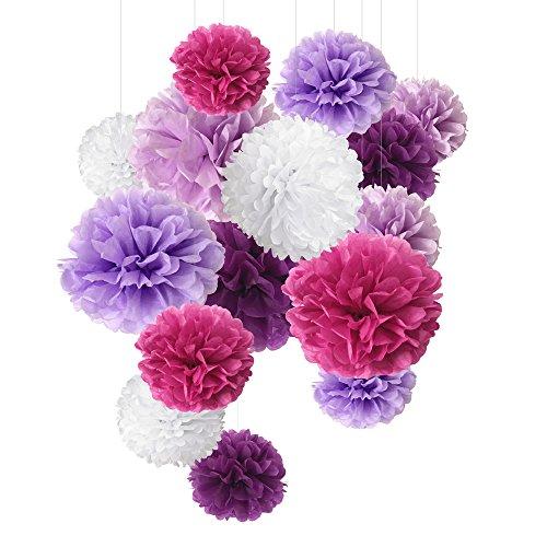 Pompon in carta velina, fiori di carta, perfetti per decorazioni per matrimonio, 15 pezzi da 20 cm, 25 cm, 35 cm