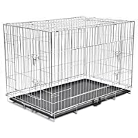 XINGLIEU Jaula Plegable de Metal para Perro con 3 Puertas Resistentes para Mascotas XXL