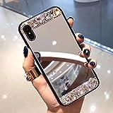 Shinyzone Miroir Coque pour iPhone X,Luxe Brillant Diamant Fait à la Main PC Dur...
